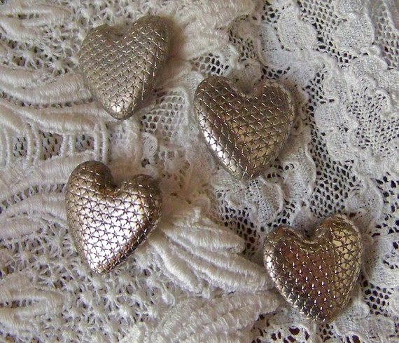 Vintage Metal Heart Buttons