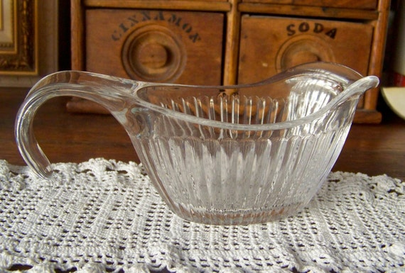 Creamer Depression Glass Ribbed Syrup Creamer 1950s