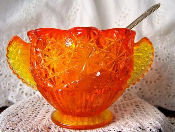 Vintage Carnival Glass Sugar Bowl Winged Handles
