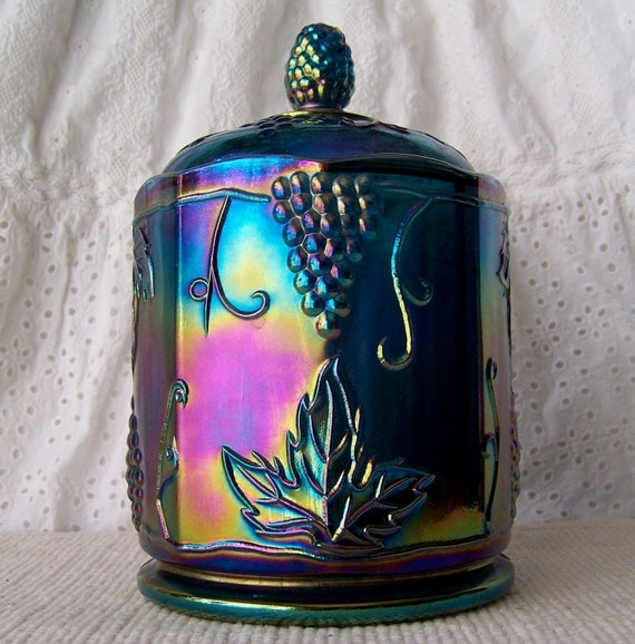 Vintage Carnival Glass Grape Harvest Canister
