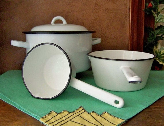 Enamelware Pots and Pans Set of Three White with Navy Trim