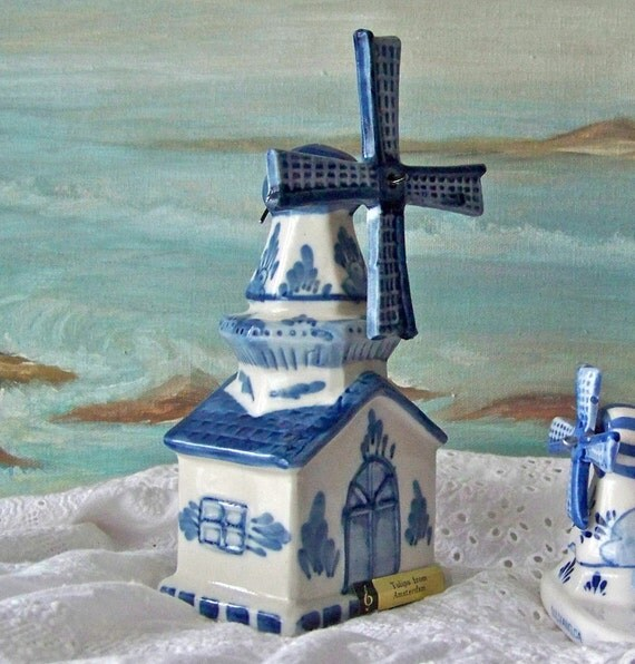 Antique Music Box Holland Windmill Amsterdam Ceramic Windmill Tulips from Amsterdam Blue and White