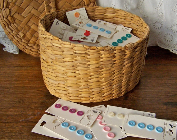 Vintage Sewing Basket filled with Buttons