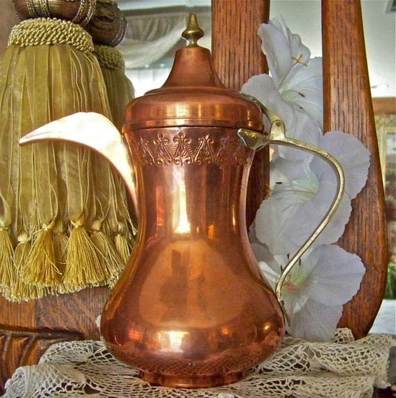 Antique Turkish Copper Teapot Handcrafted Primitive Coffee Pot Turkey Hand Forged