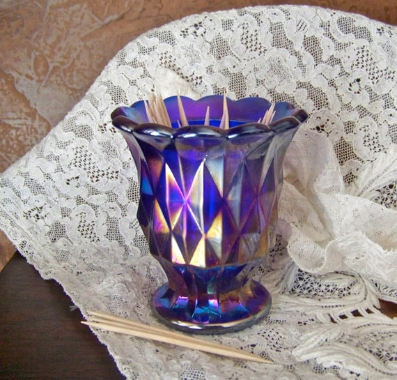 Vintage Carnival Glass Toothpick Holder Deep Purple Blue Imperial Glass Iridescent Glass