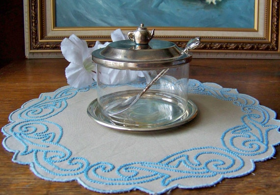 Vintage Jam Pot with Silver Plate Lid Tray and Spoon
