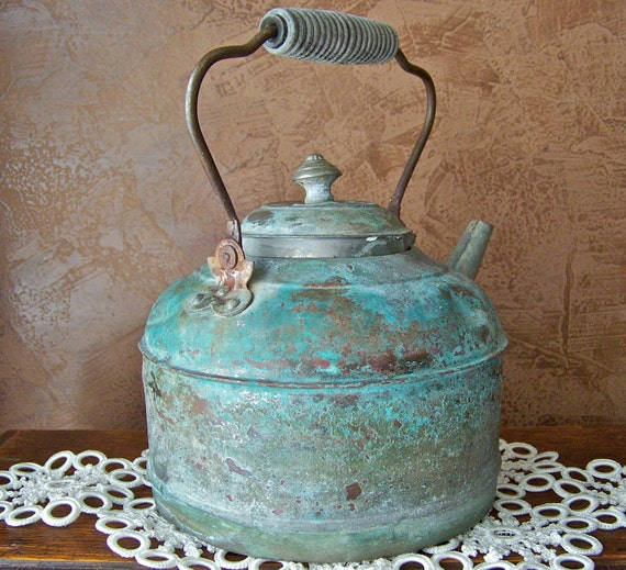 Antique Copper Teapot Primitive Teapot Shabby Teapot Decorative Teapot