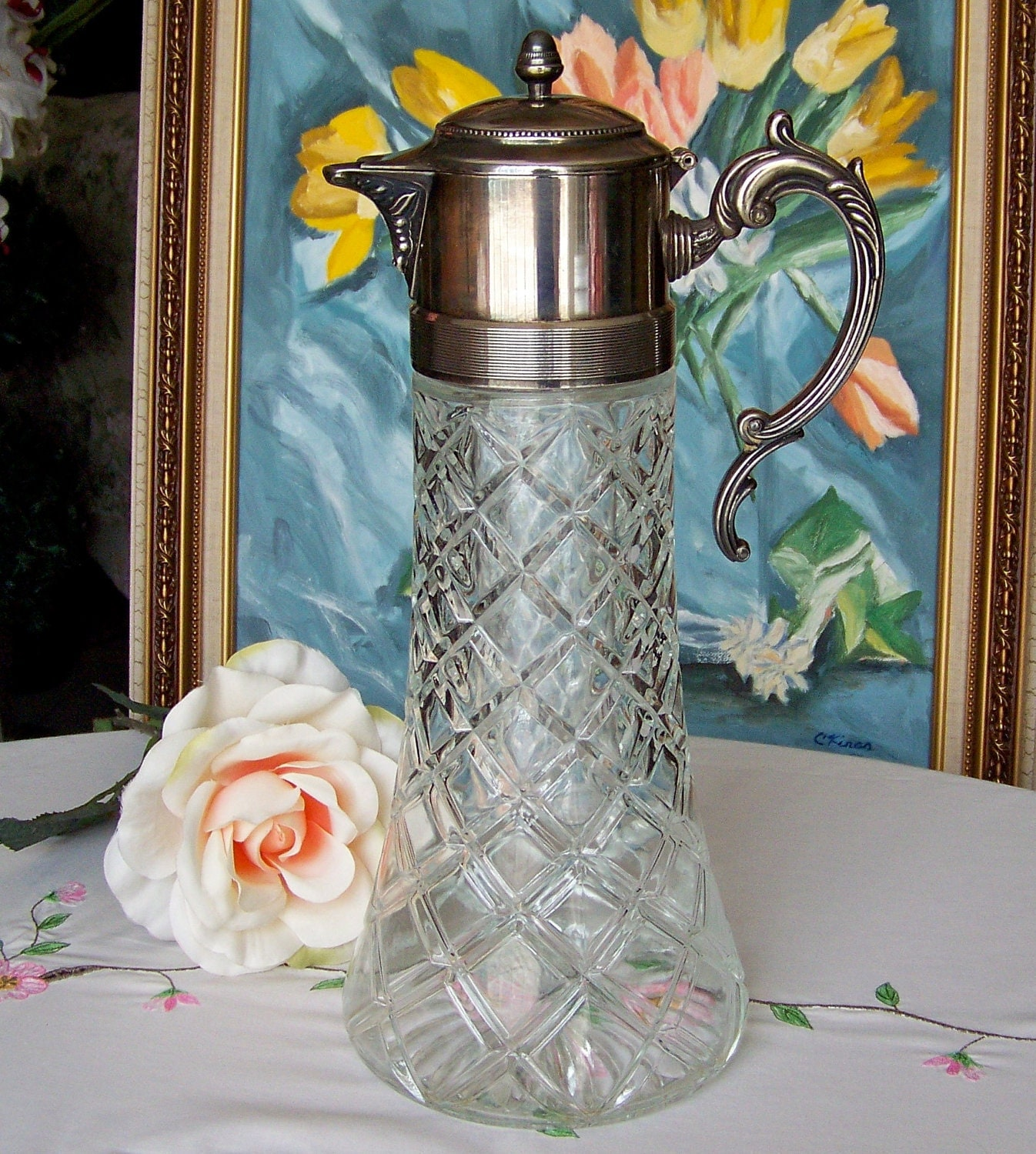 Water Pitcher Silver Plate Handle Lid And Spout