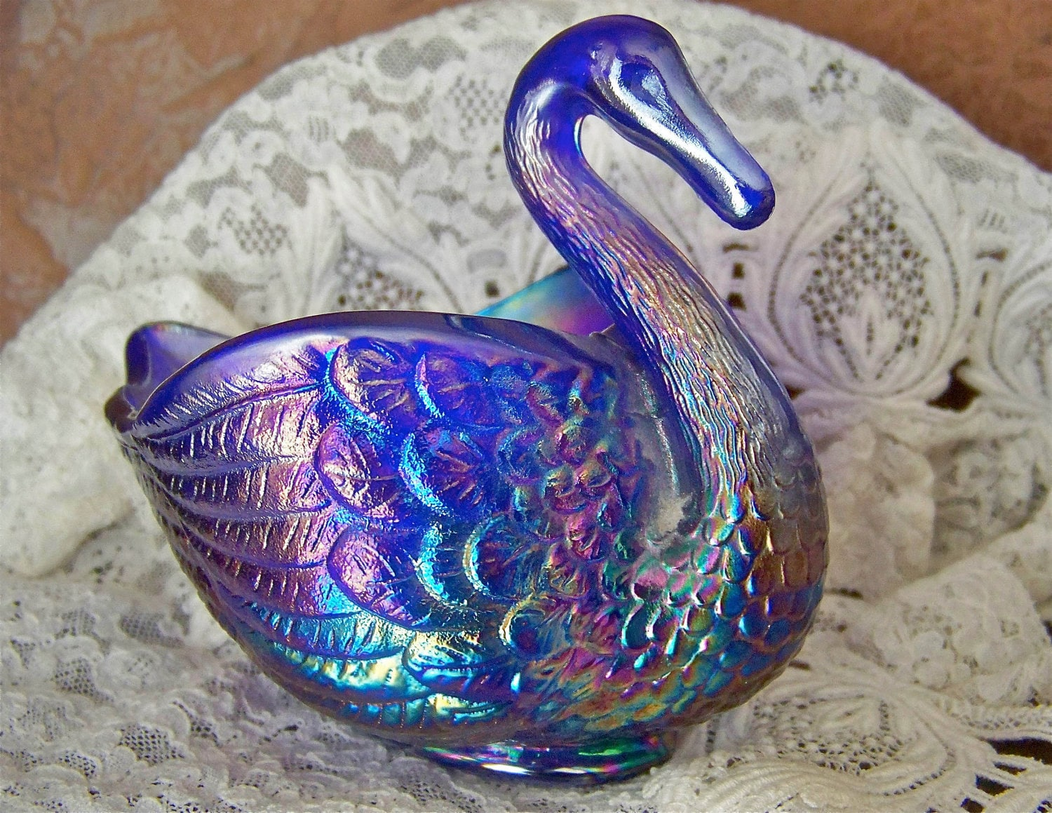 Vintage Carnival Glass Swan Bowl Reserved For By Cynthiasattic