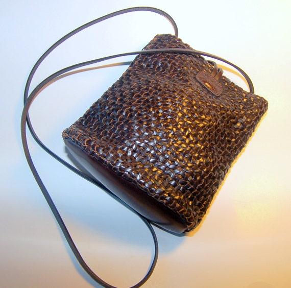 Braided leather purse