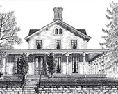 custom home portrait pen and ink