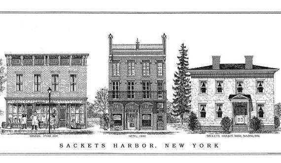 Sackets Harbor N.Y. Print of Main Street by Maribel R Maxon