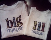 Brothers Matching Shirt Set - Big and Lil Mister Sizes NB - 6/7 Cotton T shirts or Onesies