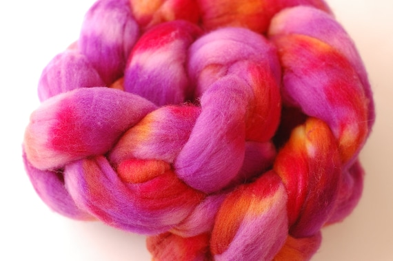 Fruit Punch Handpainted Spinning Fiber Combed Top Wool Roving Braid 4 oz.