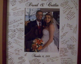Wedding Guest book Alternative - Signature Picture Frame Customized Mat