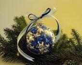 Lucky Stars Christmas Glass Ornament - Metallic BLUE and SILVER