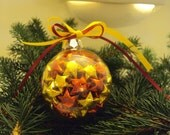 Lucky Stars Christmas Glass Ornament - Metallic RED and GOLD