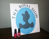 CINDERELLA- Silhouette- Royal Salon- Self Standing Party Sign- Great for Spa Parties, Party Favor Table
