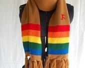Vintage rainbow 70s fringe scarf