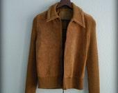 Vintage brown leather suede zipper jacket