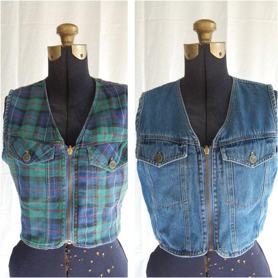 Vintage 80s plaid reversible cropped zipper vest