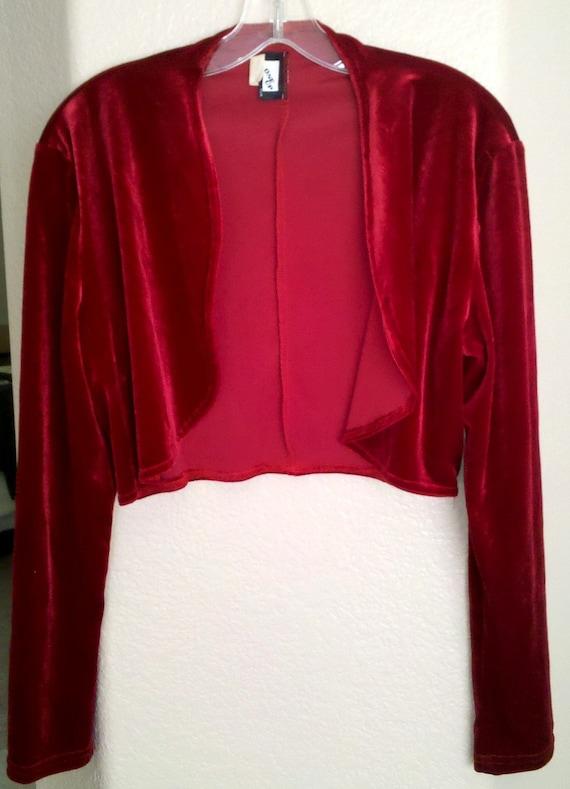 ON SALE Vintage Red Velvet Bolero Shrug
