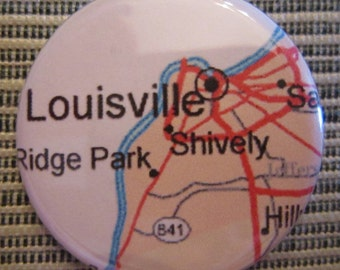 Louisville, KY Map 1.25 inch Pinback Button