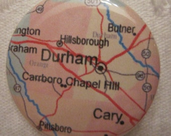 Durham, NC Map 1.25 inch Pinback Button