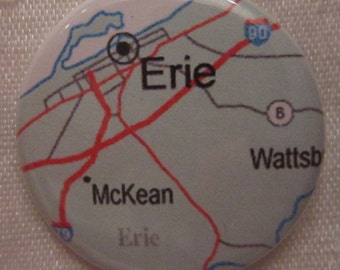 Erie, PA Map 1.25 inch Pinback Button