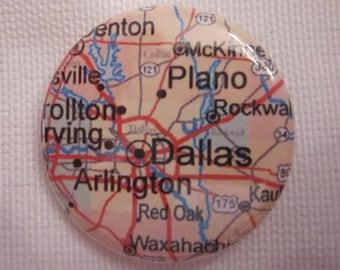 Dallas, TX Map 1.25 inch Pinback Button