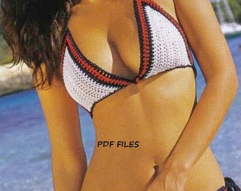Woman Crochet Bikini set  Pattern only with written instruction and diagrams in Pdf files.