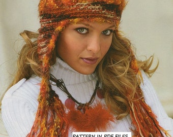 Exlusive new Crochet Girls Woman hat with earflap Pattern Instruction in PDF.