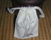 Bare Winter Tree Rosary Prayer Jewelry Bag Tea Pouch Holder Heavy Cotton Muslin Sephia