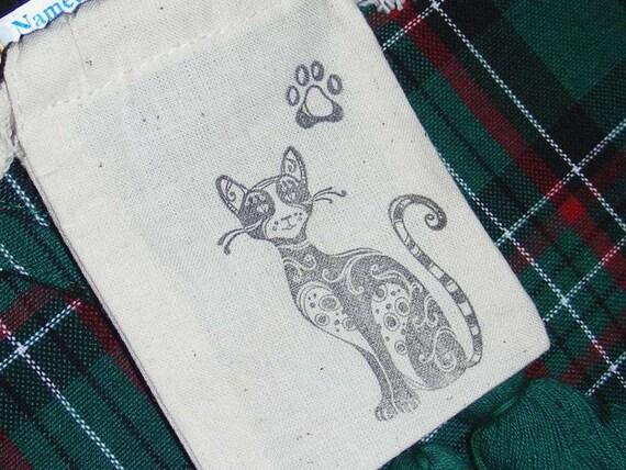 Purrfect Cat Prayer Jewelry Bag Pouch Heavy Cotton Muslin Kitty Kitten Gift Card Holder