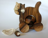 Wooden pull toy eco friendly KITTY CAT
