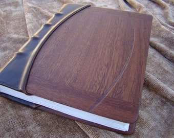 Handmade Leather Journal or Wedding Photo Album with Mahogany Panels, Hemp Paper, and Silk Headband