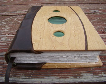Custom Handmade Leather Journal or Wedding Guestbook Album with Birdseye Maple panels, Black Walnut inlay, Decorative Glass, and Hemp Paper