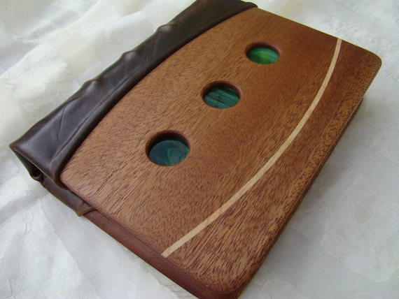 Wood and Leather Binder with Glass and Wood Inlay.  Franklin Covey type Binder.