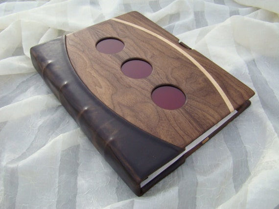 Custom Handmade Walnut and Leather Scrapbook / Binder, with Glass Accents, Maple Inlay, and Hemp Paper.  Featuring Rollabind binding system