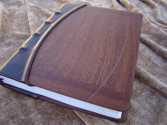 Handmade Leather Journal or Wedding Photo Album with Mahogany Panels, Hemp Paper, and Silk Headband