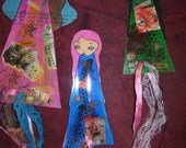 Paper Dolls Laminated Bookmarks with ribbons- set of 3