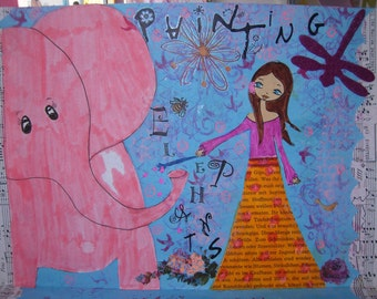 Painting Elephants - mixed media whimsical painting- PRINT