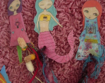 Paper Dolls Laminated Bookmarks with ribbons-no 5-New