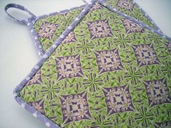 Bright Green and Lilac Purple Pot Holders set of two