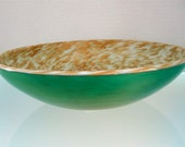 Large Murano Gold Flaked Glass Bowl (Italy)