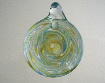 Blown Glass Pendant -  Pale Blue, Green & Yellow - GP33