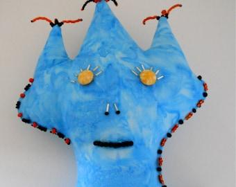 Primitive Folk Art Doll - Blue Hand Dyed Batik