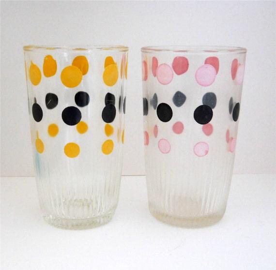 1950's Polka Dot Glasses - Set Of 2