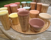 Vintage Melmac Raffiaware Burlap Lot of Tumblers, mugs, bowls, and Tray.