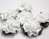 Large Fabric Flower - 10 Pieces - White